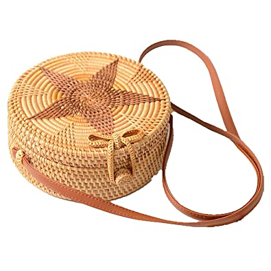 41734cdb01 TOOGOO Women Round Weave Braid Woven Rattan Basket Bag Leather Style ...