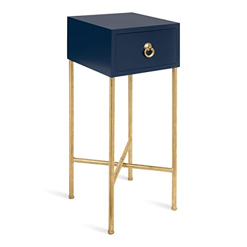 Kate and Laurel Decklyn Modern Glam Wood Side Accent Table with Drawer, Navy Gold