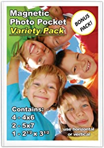 Magtech Magnetic Photo Pocket Picture Frame, Variety Pack, 6 Pack + FREE Wallet Size (57461)