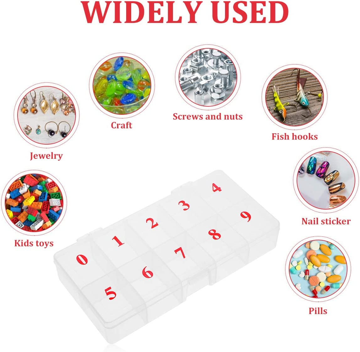 Nail Tips Rhinestones Storage Case Box Container Jewelry storage box for Storing Earrings Jewelry Organizers