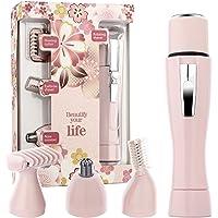 Halcent Depiladora Mujer Sistema 4 en 1 Afeitadora Electrica Mujer con Máquina de Depiladora Facial, Depiladora Cejas, Depiladora Corporal, Depiladora Nariz (Rosa)