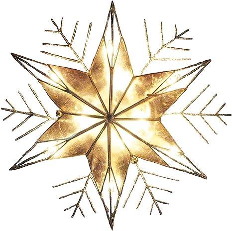 Silver 10-Inch Kurt Adler 10-Light Capiz and Wire Snowflake Christmas Treetop