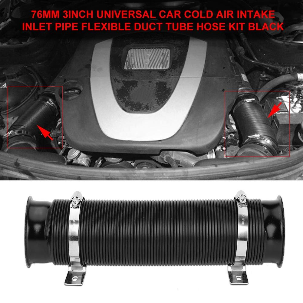 Air Intake Hose 76mm//3inch Universal Air Intake Pipe//Duct//Tube Flexible Cold Air Intake Inlet Pipe Set for Car Black