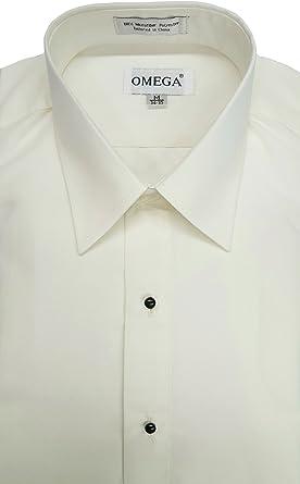 OmegaTux Hombres de Marfil Microfibra Esmoquin Camisa Vestido de Cuello Tumbado, Non Pleat - Marfíl - Medium(38 cm- 39 cm) 86 cm- 89 cm Manga: Amazon.es: Ropa y accesorios