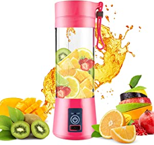 DOTSOG Portable Blender,Household Juicer Cup 380ml Fruit Mixer Bottle with Stainless Steel 6-Blades in 3D,2000mAh USB Rechargeable Batteries,Detachable Cup,Baby Cooking ,Mixing Fruit Juice,Vegetable Juice,Milkshake,Ice Drink(Pink)
