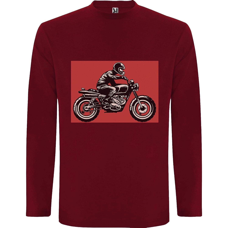 Lilij Camiseta Hombre Manga Larga Cafe Racer Bike Blanco
