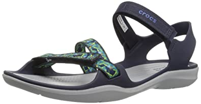 Crocs Women's Swiftwater Webbing Sandal W Flat, Navy, 9 M US