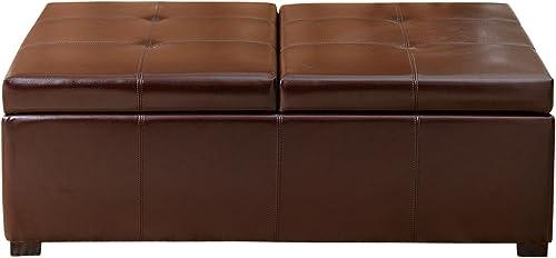 Abbyson Frankfurt Dark Brown Bicast Leather Double Flip-top Storage Ottoman