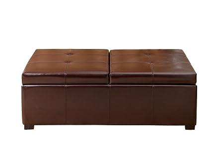 Abbyson Frankfurt Dark Brown Bicast Leather Double Flip Top Storage Ottoman