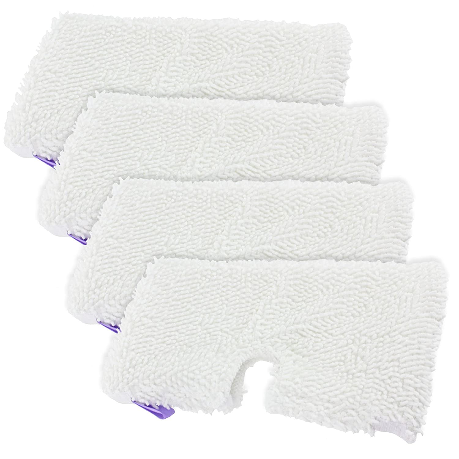 SPARES2GO Microfibre Cover Pocket Pads for Shark SM200 S502 S7000 S3101 S3250 S3251 XT3101 Steam Cleaner Mop (Pack of 4)
