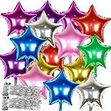 16個セット バルーン 星 風船 タッセルリボン付き アルミバルーン 46cm 誕生日 パーティー (星型 8色 16個)