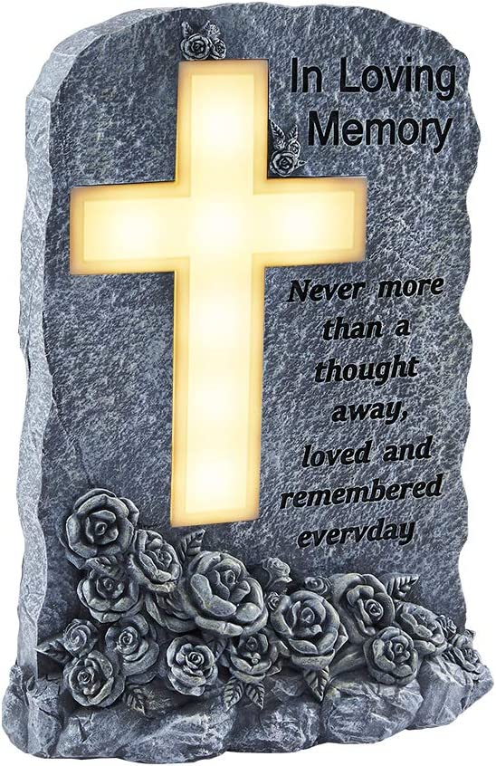 "Memorial Garden Stone, 15.7""Memorial Gifts with Solar Led Light, Solar Powered Lighted Cemetery Grave Decorations, in Memory of Loved One, Bereavement, Remembrance, Condolence Gifts for Thanksgiving"