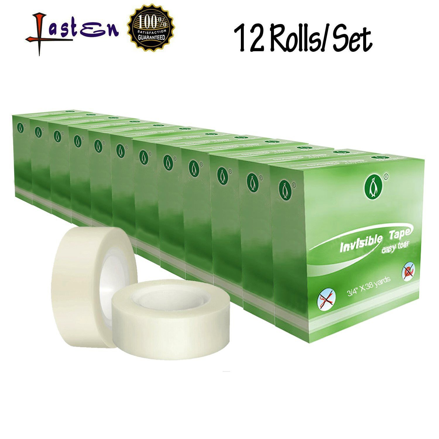12 Rolls Invisible Tape, Hand Tearable Mending Tape 3/4 Inches X 38 Yards for Office, School and Home By Lasten