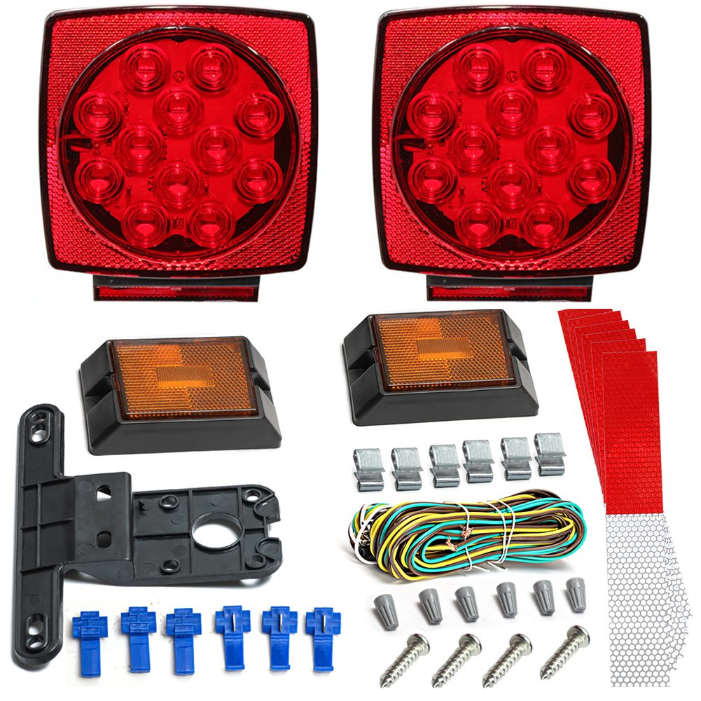 Led Trailer Light Kit Jungleroad 2018 New 12v Universal Easy Wiring Harness Assembly Attachable Tail Lights With
