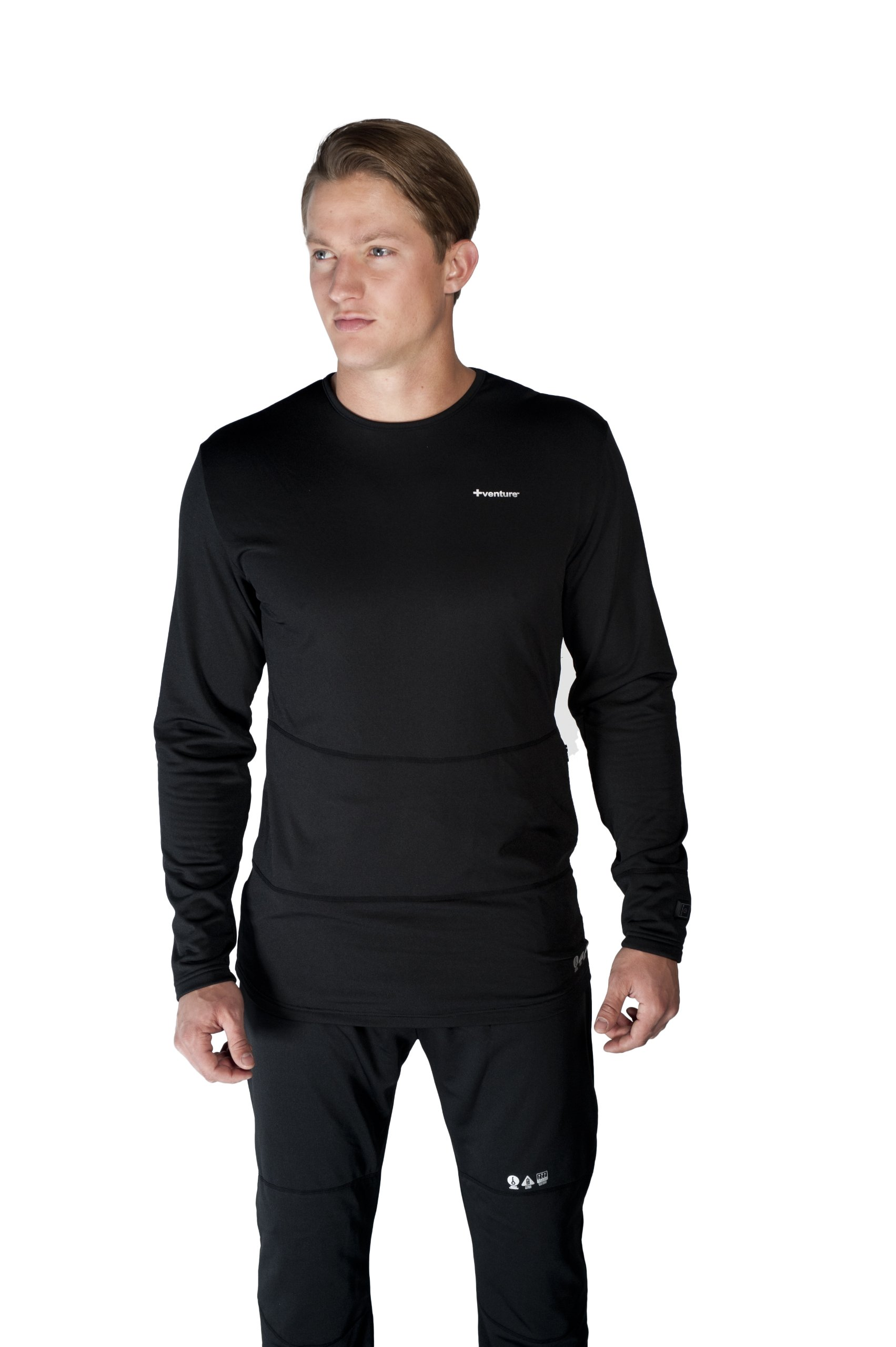 VentureHeat Battery Heated Base Layer Top with Tri-Zone Heating Area (Black, X-Large) by Venture Heat (Image #1)