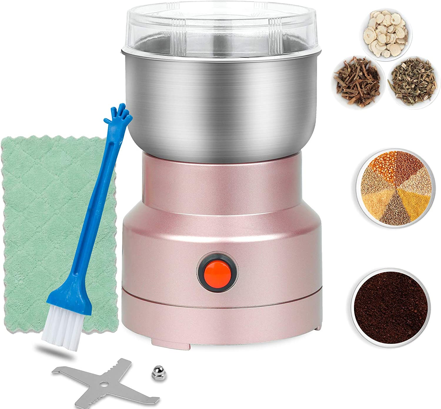 Extra Fine Spice Grinder 150W Mini Electric Seed Grinder Dry Mill Multifunction Smash Machine with Cleaning Brush 10s Rapid Grinding Spices, Seasonings, Seeds, Condiment,Corns,Grains,Root