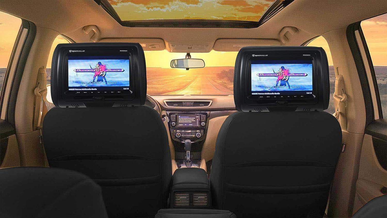 Rockville Rdp711 Bk 7 Black Car Headrest Monitors W Dvd Player Usb Hdmi Games