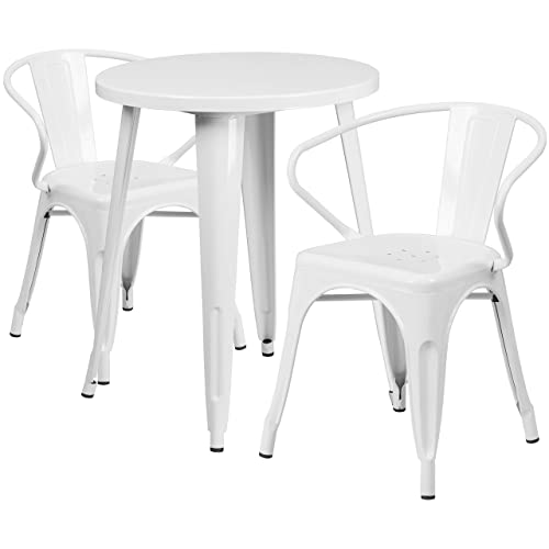 Flash Furniture 24 Round White Metal Indoor-Outdoor Table Set with 2 Arm Chairs