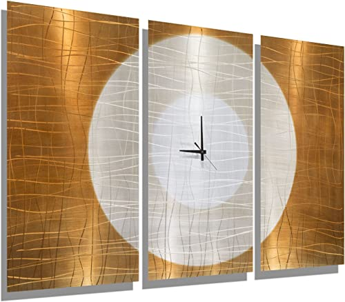 Statements2000 Large Gold Abstract Metal Wall Clock – Handcrafted Functional Art – Etched Modern Metal Wall Clock – Warm Embrace by Jon Allen – 38-inch