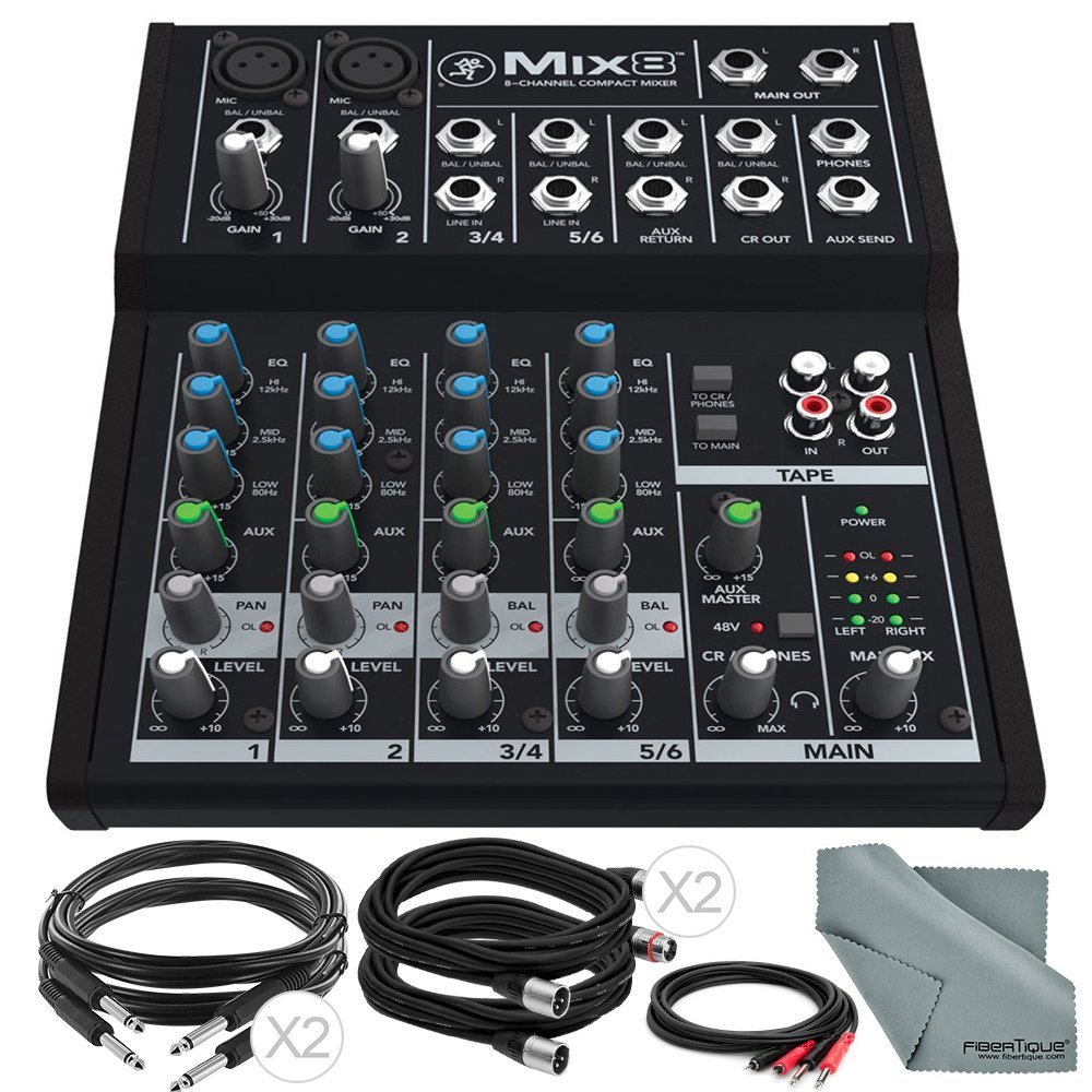 Mackie Mix Series Mix8 8-Channel Compact Mixer and Basic Bundle with Cables + Fibertique Cleaning Cloth