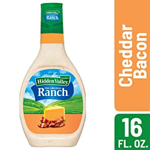 Hidden Valley Cheddar and Bacon Flavored Ranch Salad Dressing & Topping, Gluten Free - 16 Ounce Bottle (Package May Vary)