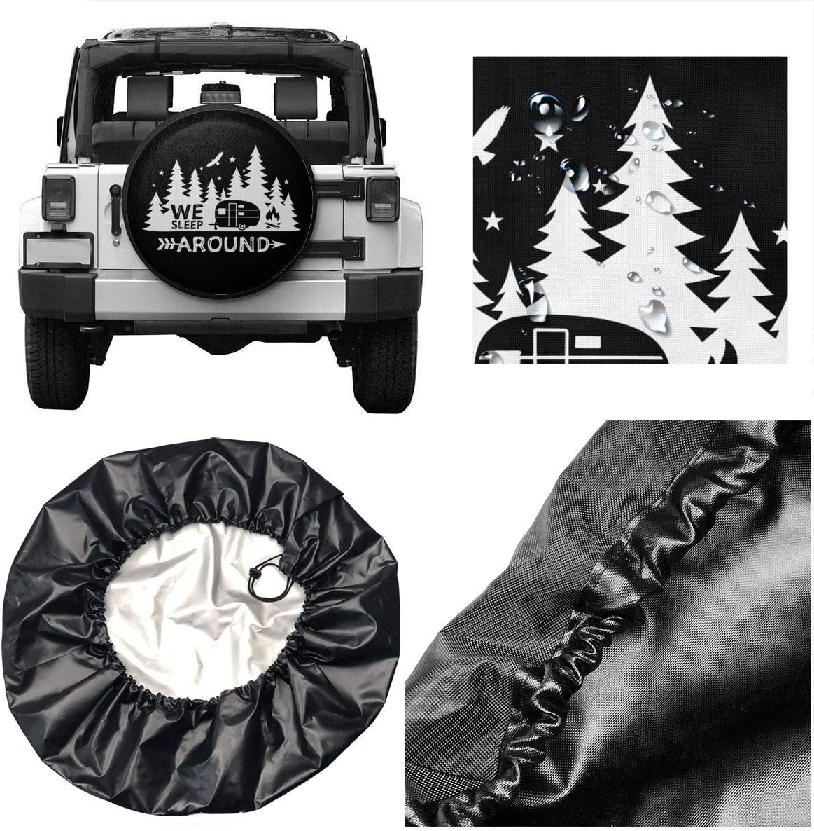 SUV Truck and Many Vehicle Camper Accessories RV Per Gull Spare Tire Cover Life is Better at The Campsite Waterproof Dust-Proof Universal Spare Wheel Tire Covers Fit for Jeep Trailer