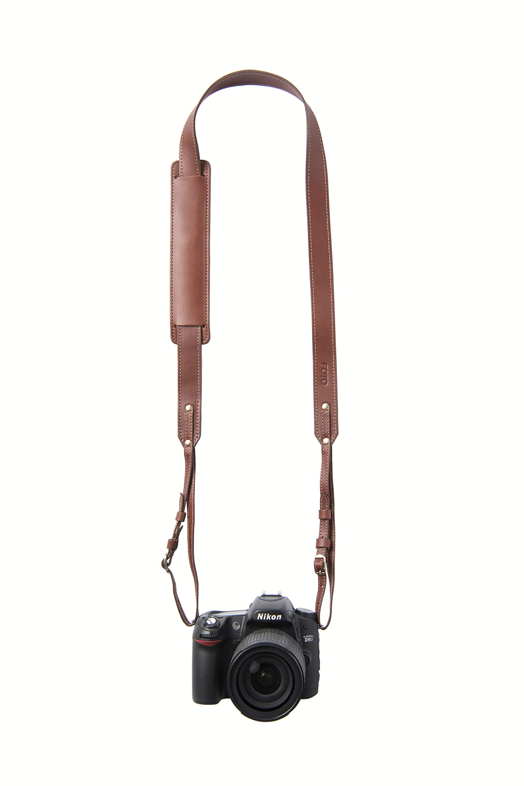 Dutch Skinny Fotostrap | Brown Genuine Leather Camera Shoulder Neck Strap | for Nikon, Canon, Sony, Pentax, Leica, Olympus DSLR, Mirrorless | Best Photographer Gifts | Gives Back by Fotostrap
