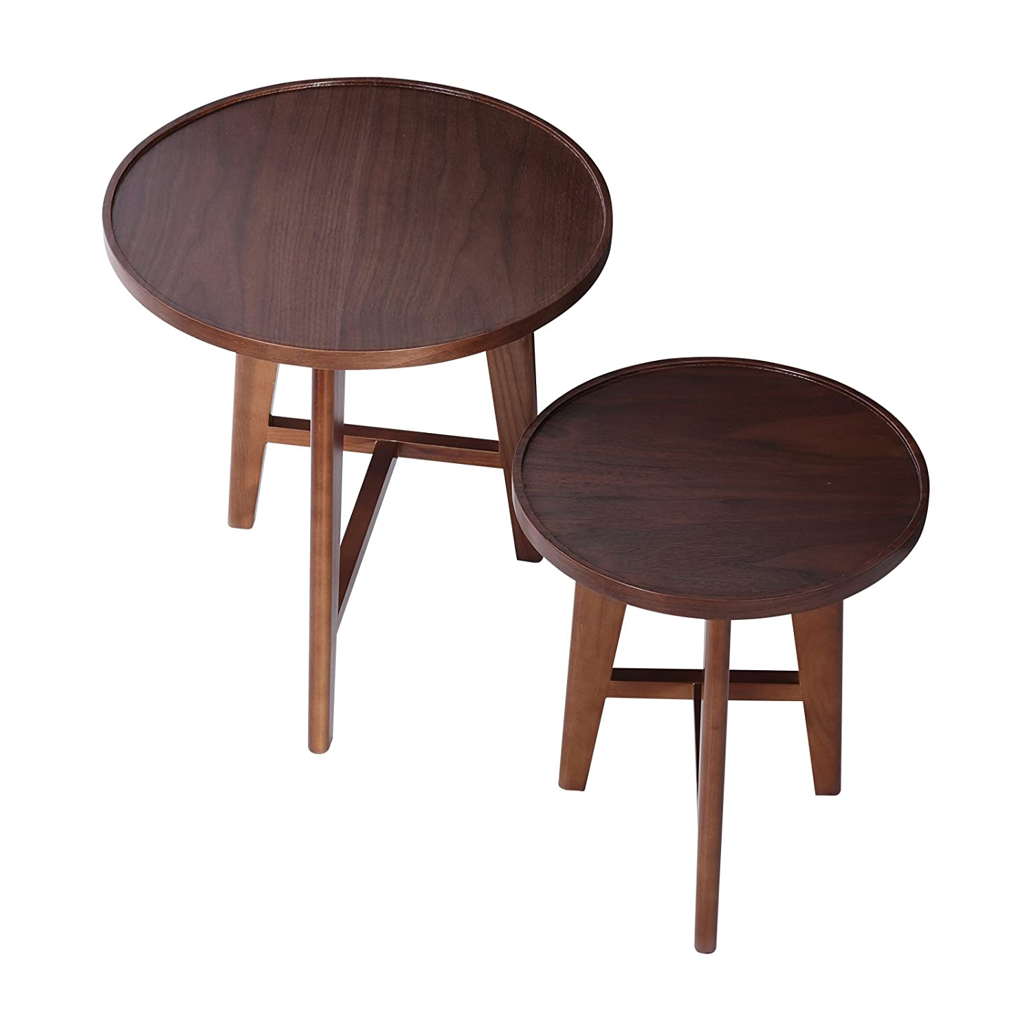 Amazon com mecor nesting table set of 2 wood side end coffee table living room furniture brown kitchen dining