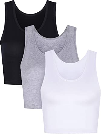 2bdb0c0cc3880 Boao 3 Pieces Women Crop Tank Top Cotton Basic Sleeveless Short Sports Crop  Top for Ladies