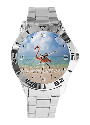 Reloj de Pulsera analógico con diseño de Flamenco para Caminar en la Playa, Esfera de