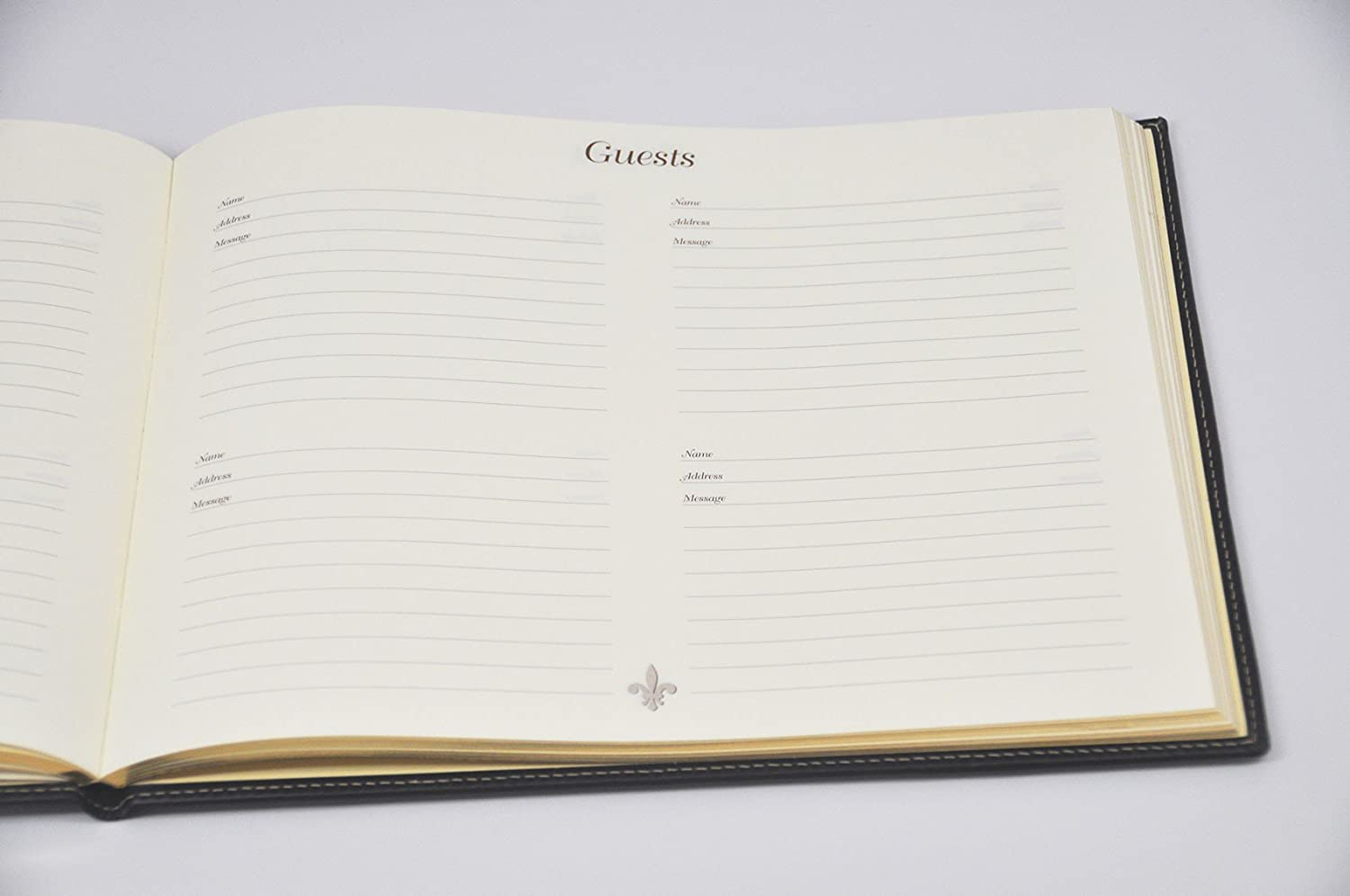 Gold Frame Italian Leather Guest Book from Fiorentina with Gilt-edged Pages
