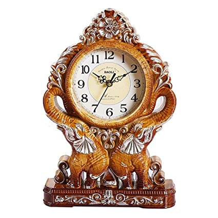 Fireplace Clocks Familiar Mute Clock, Vintage Desk Clock, Decorative Bedroom Living Room Suitable for