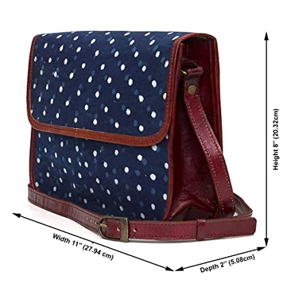 Goatter Fabric and Leather Blue Messenger Bag for Women  Amazon.in  Bags 201ae440b9