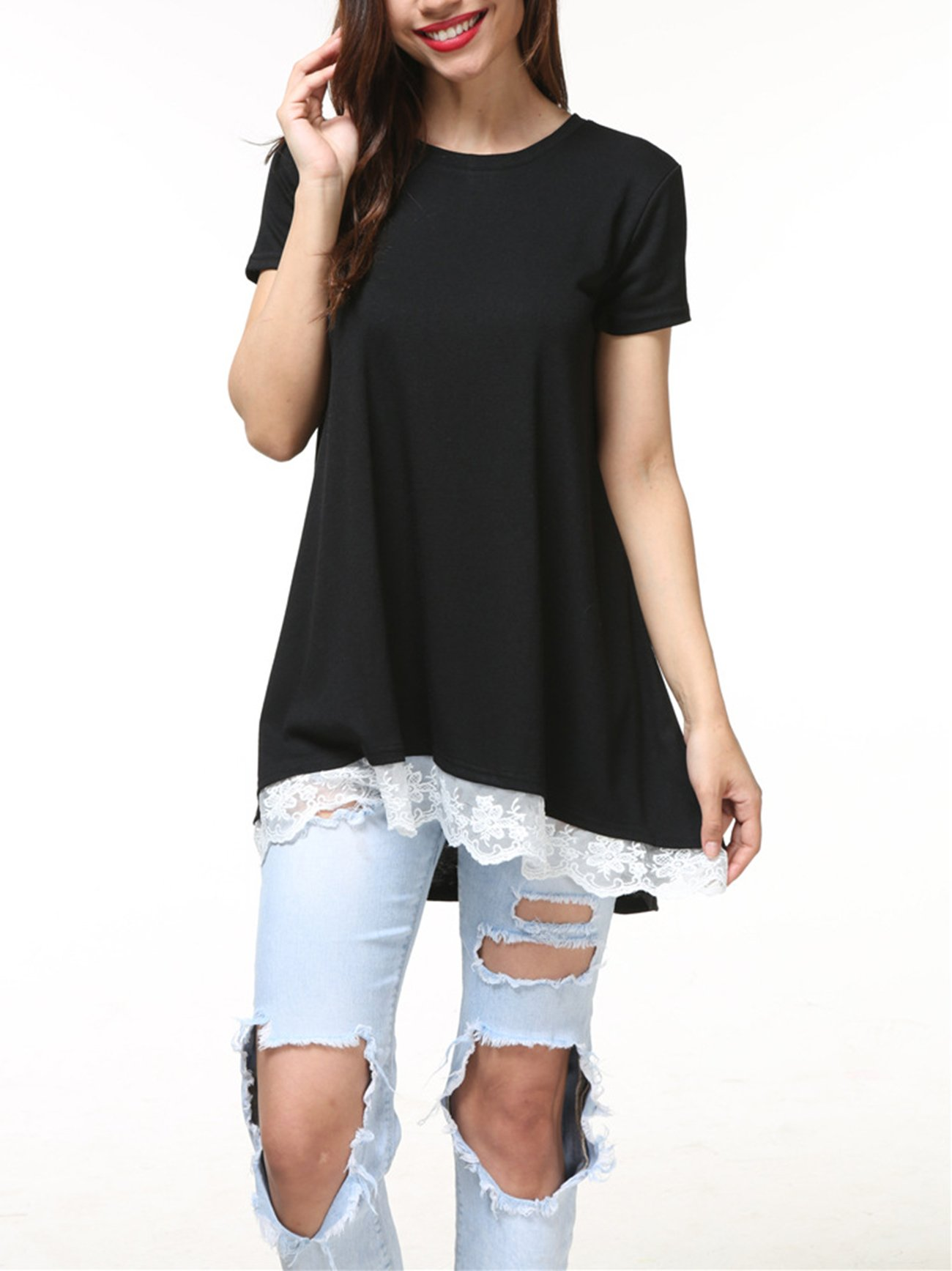 VAYAGER Short Sleeve T Shirts for Womans Round Neck Front Hem Lace Design Top Black L