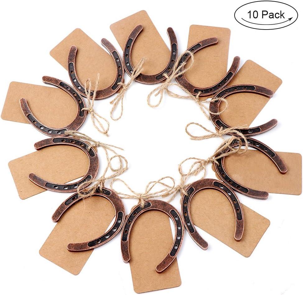 10 herraduras de la suerte de TBhappy, para regalo de boda, con etiquetas y cuerdas, decoración rústica para bodas: Amazon.es: Hogar