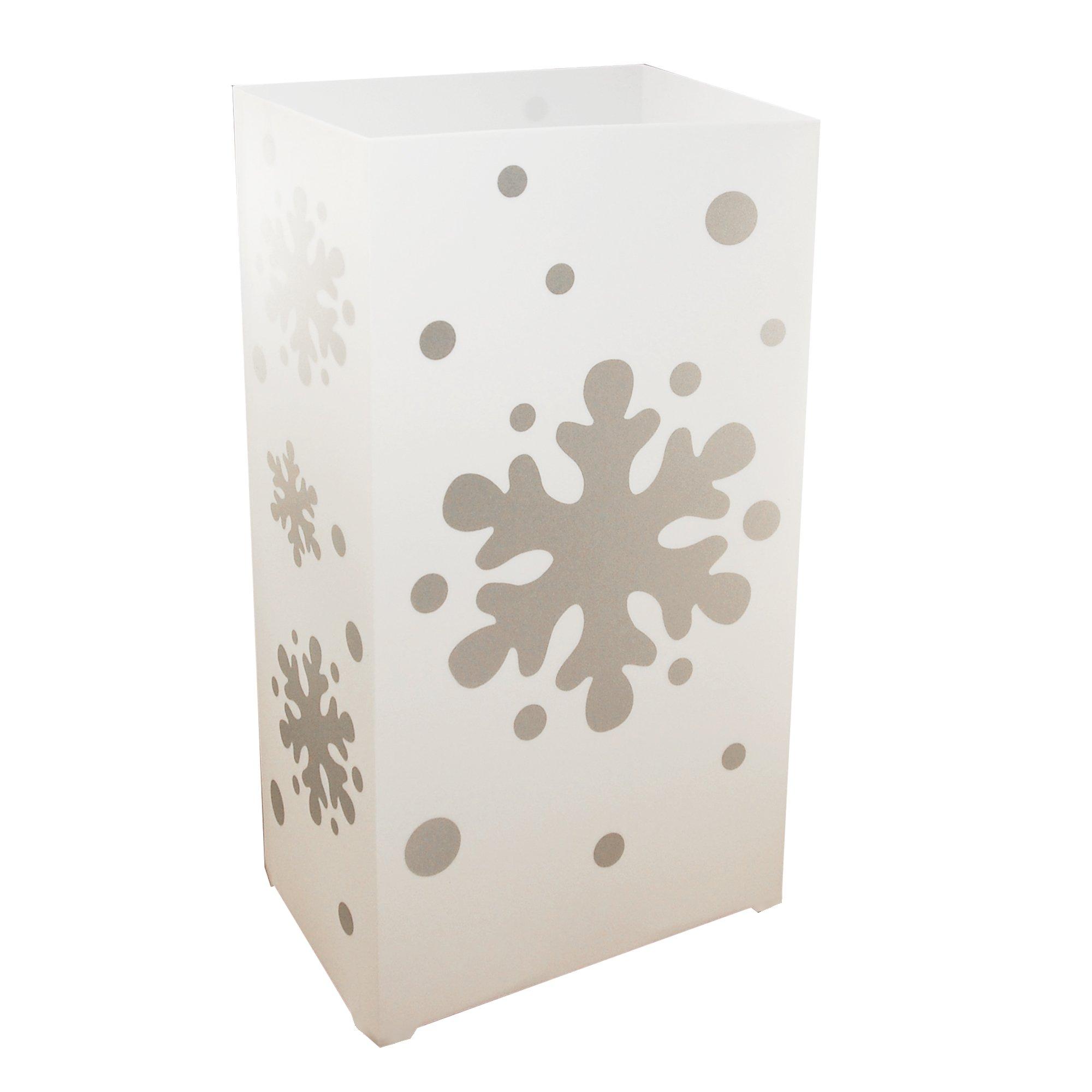 Lumabase 32712 10 Count Snowflake Plastic Lanterns, White