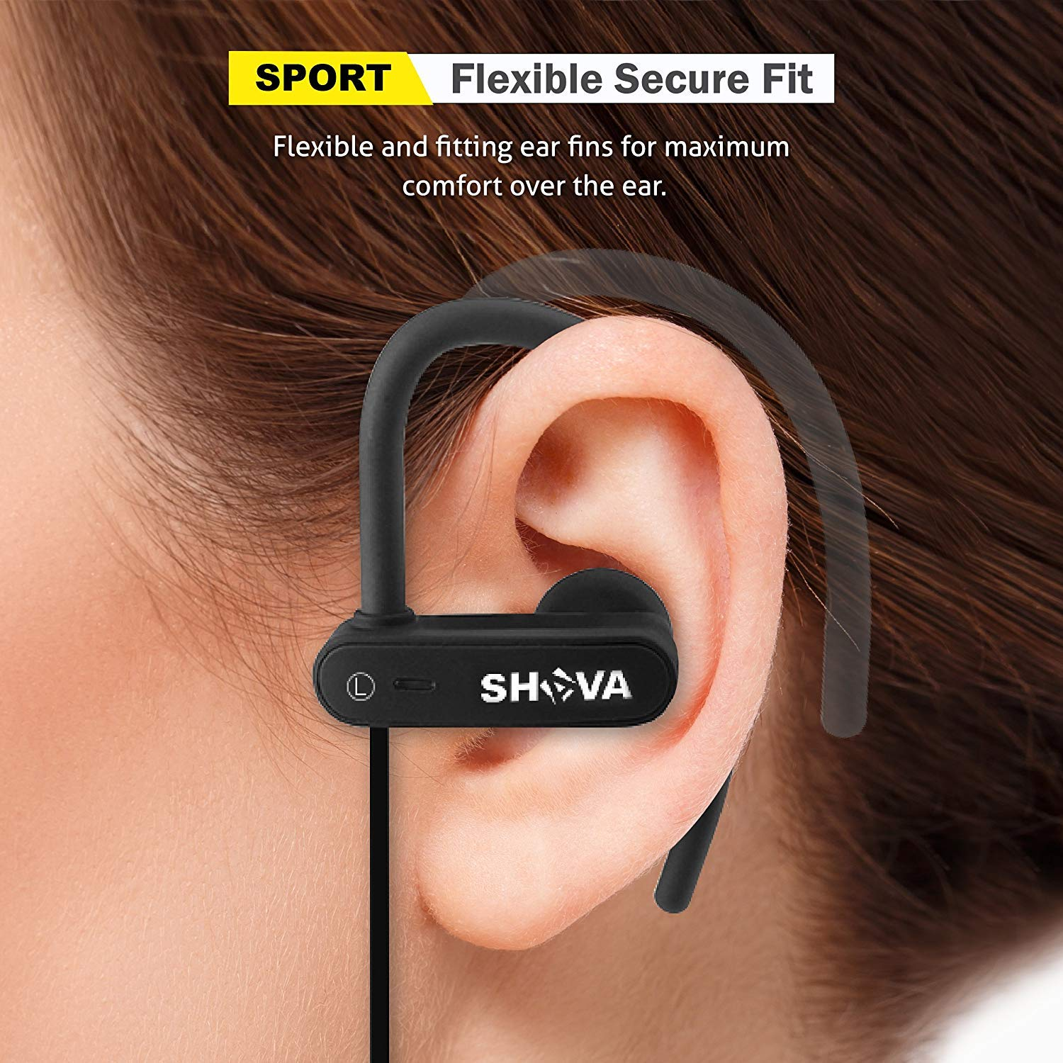 Wireless Headphones, SHAVA Sport Bluetooth Headphones is IPX7 Waterproof, Richer Bass HiFi Stereo Wireless Earbuds with Mic and Case, 8 hrs Playtime, Best for Running, Gym, Workout, All Sports(Black)