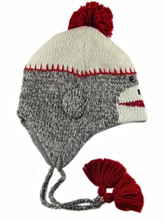 36eed67688270 DeLux Sock Monkey Face Wool Pilot Animal Cap Hat with Ear Flaps and Poms   Amazon.co.uk  Clothing