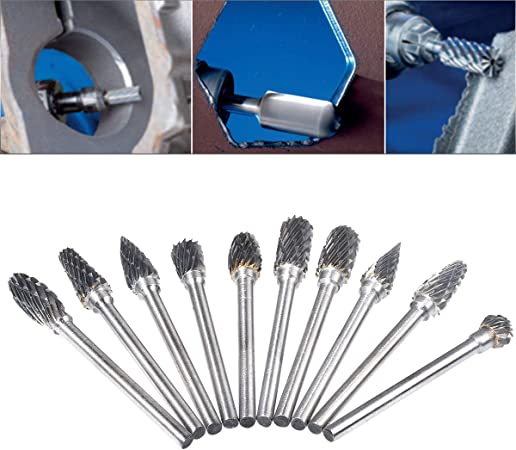 Tonsiki 20pcs Tungsten Carbide Rotary Burr Set with 1//8 Shank for DIY Size 1