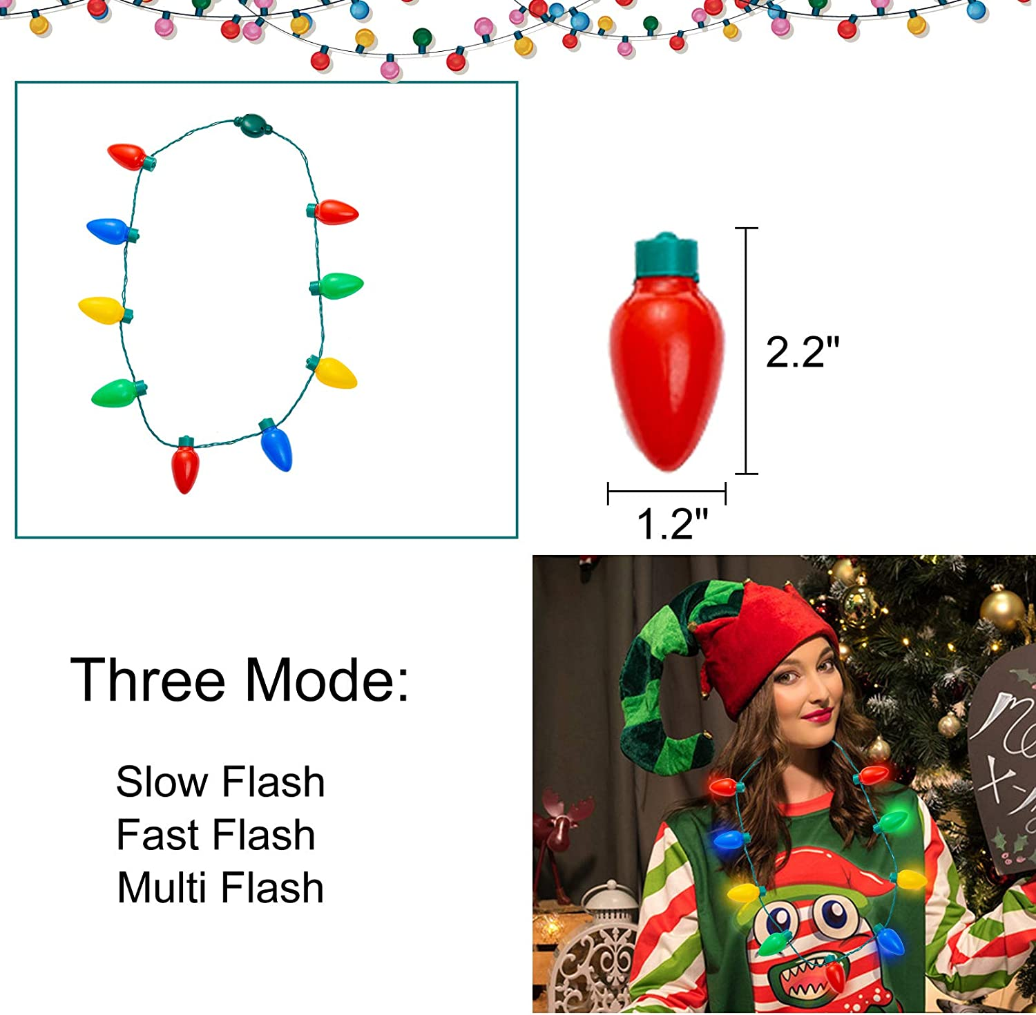 9 Bulbs Xmas Light Necklace for Adults and Kids Batteries Included Ugly Sweater Party Accessory Christmas Decoration Party Favors and Supplies 6 Pack Christmas LED Light up Bulb Necklace