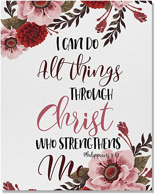 Amazon Com Wayfare Art Christian Bible Verses Philippians 4 13 Canvas Prints Artwork Wall Art Poster For Home Office Living Room Decorations 8 X 10 Inch Posters Prints