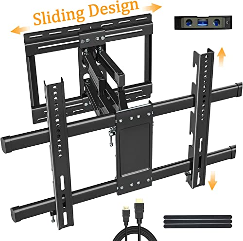 Full Motion TV Wall Mount Bracket for 32-80 Inch LED OLED Flat Curved Screen, Sliding for Centering,Vertical Adjust, TV Mount with Swivel Extension Articulating Arms,Max VESA 600×400 100lbs