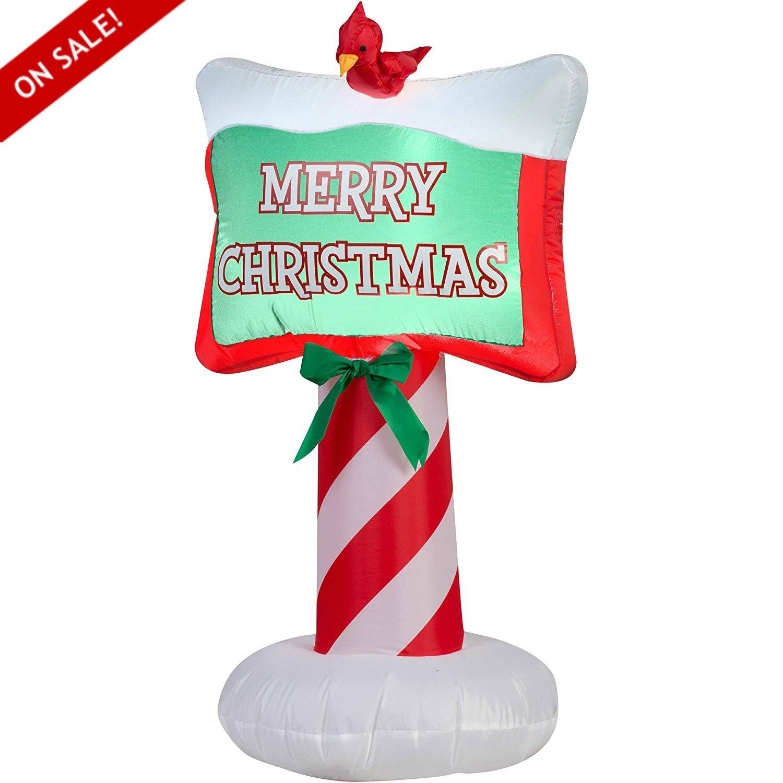 Outdoor Decor Patio Signs Inflatable Airblown Merry Christmas Decoration 3.5' Garden Backyard Sign - Skroutz