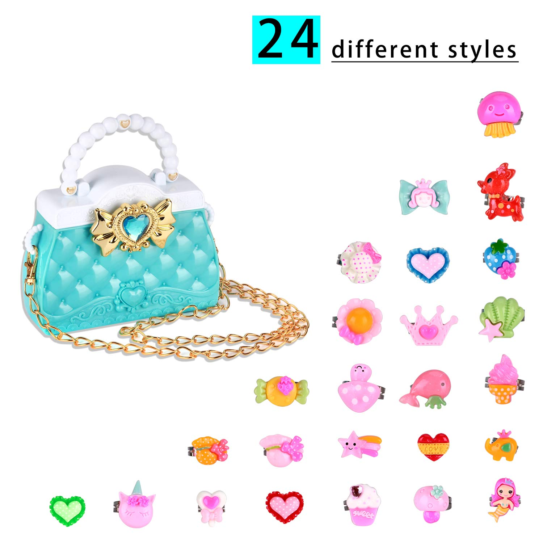 Yozorun 25PCS Princess Handbag Set Little Girl Lovely Jewel Rings in Box Adjustable No Duplication Girl Pretend Play and Dress Up Rings by Yozorun