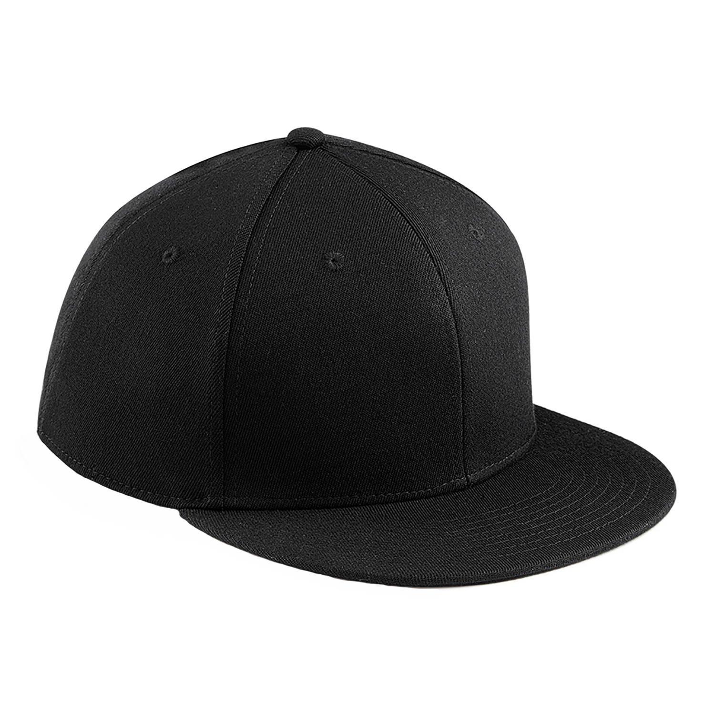 Amazon.com  Beechfield Signature Fitted Flat Peak Cap - Black - M  Clothing 555911cdffb