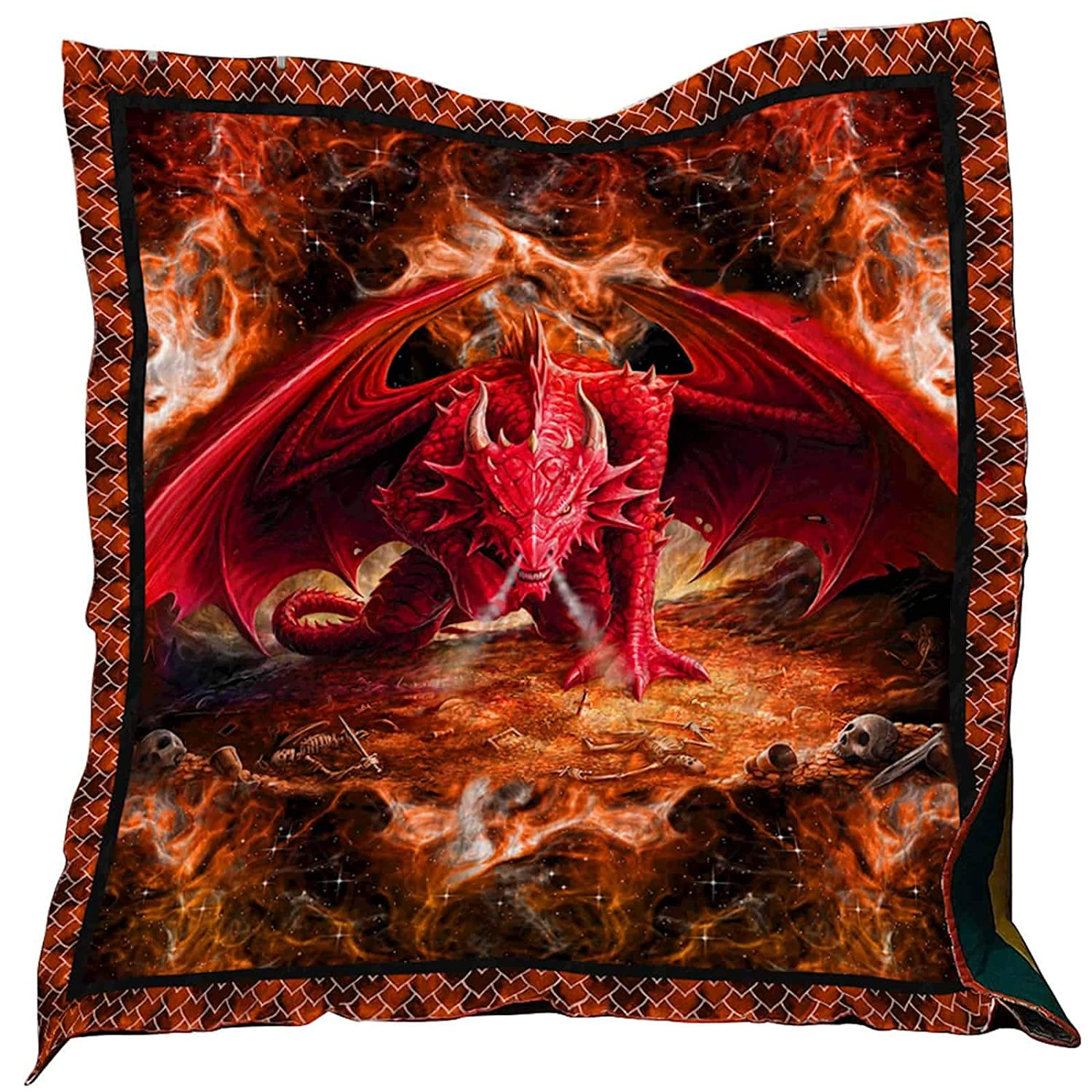 Fire Red Dragon Washable Quilt 0201-02 Queen All Season Quilts Comforters with Reversible Cotton King//Queen//Twin Size Best Decorative Quilts-Unique Quilted for Gifts