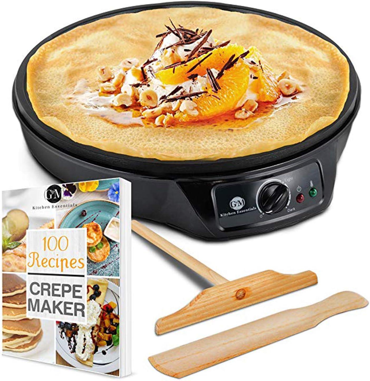 Crepe Maker Machine Pancake Griddle Nonstick 12 Electric Griddle Pancake Maker, Batter Spreader, Wooden Spatula Crepe Pan for Roti, Tortilla, Blintzes Portable, Compact, Easy Clean