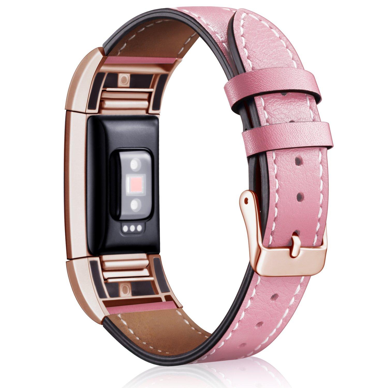 Mornex Bracelet Compatible Fitbit Charge 2 en Cuir,Bande de Remplacement Réglable Sangle Rechange Métal Connecteurs Accessoires product image