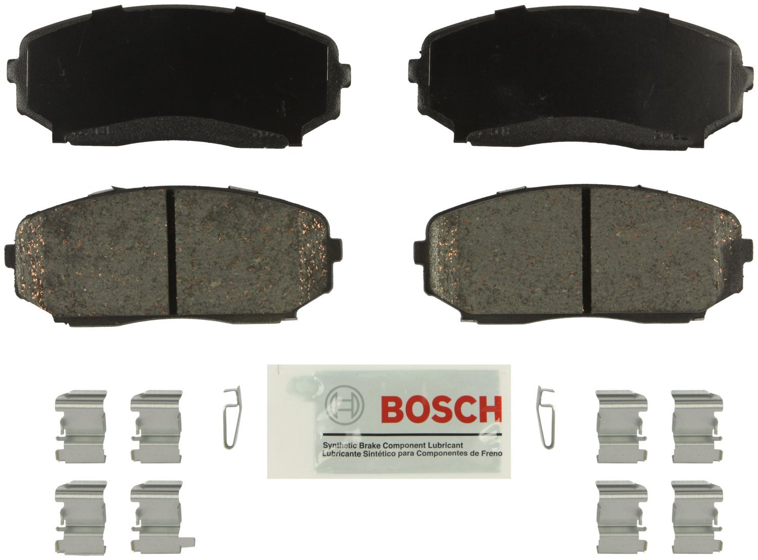 Bosch BE1258H Blue Disc Brake Pad Set with Hardware For Ford Edge; Lincoln MKX; Mazda CX-7 Front CX-9