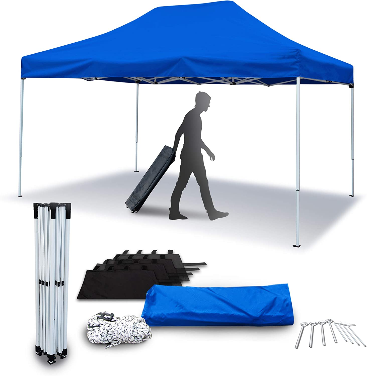 ASTEROUTDOOR 10'x15' Commercial 300 Denier Heavy Duty Water-Resistant Pop Up Canopy Tent with Adjustable Leg Heights Wheeled Carry Bag, Sandbags, Stakes and Ropes, Royal Blue